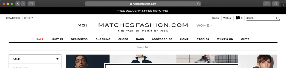 CLICK IMAGE TO BROWSE MATCHES FASHION SALE