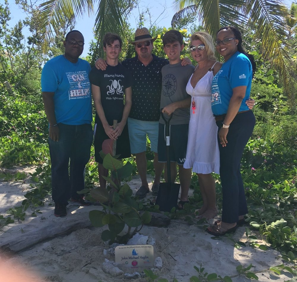 In Loving Memory - Annie Davis of Palm Beach Travel along with her family planted a Sea Grape Tree in memory of her late brother, John Michael Heglin who loved the BVI.