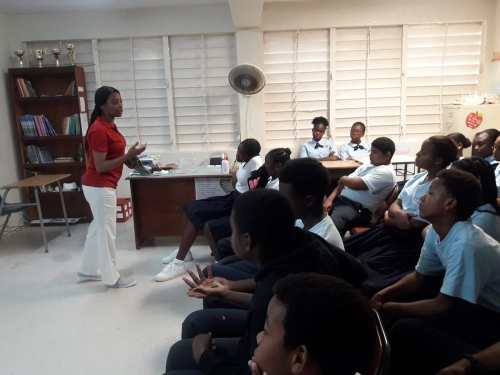 Education - Tausha Vanterpool gives presentation on Seeds of Love to students at the Claudia Creque Educational Centre.Below: Chandi Trott does a Seeds of Love presentation to students of the Jost Van Dyke Primary School.
