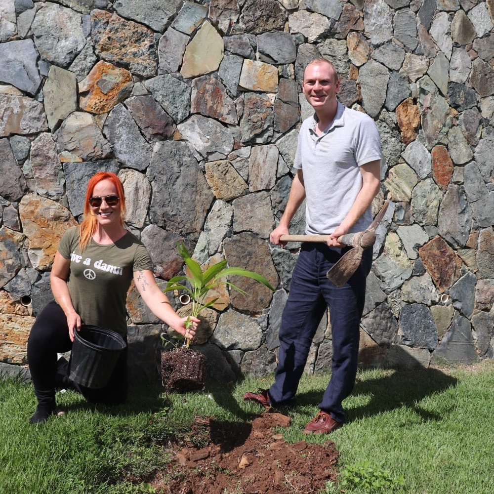 Gourmet for a Cause - Chef Adrianne Calvo and His Excellency the Governor Augustus Jaspert planted palm trees at the Government House on October 27, the day of Gourmet for a Cause which kicked off Food Fete month 2018.