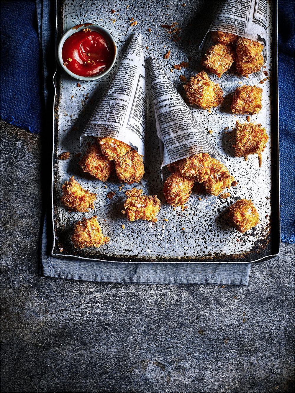Vegan 'chicken' nuggets Photograph Kris Kirkham Prop Styling Davina Perkins Recipe Jenna Leiter