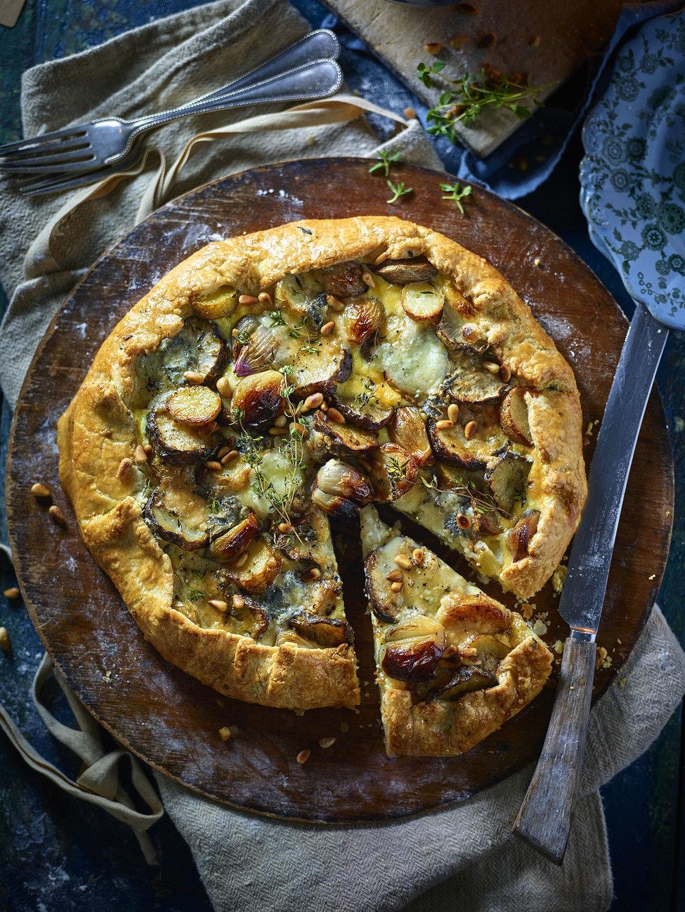 Jerusalem Artichoke Gorgonzola Pie Photograph Myles New Prop Styling Tonia Shuttleworth