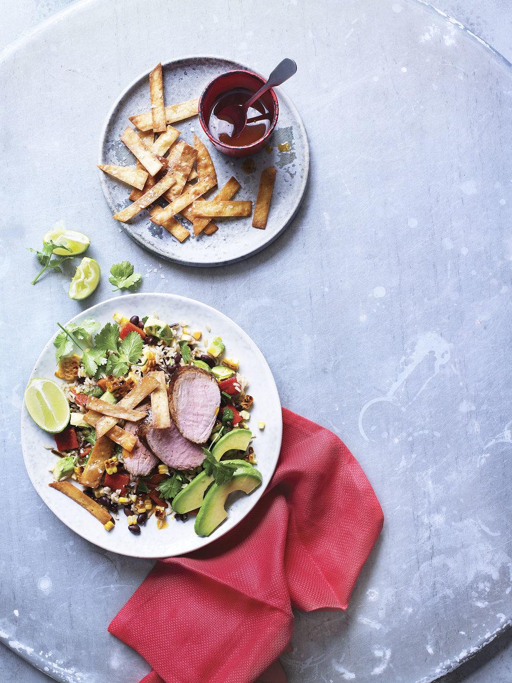 Pork Burrito Salad Photograph Kate Whitaker Prop Styling Davina Perkins