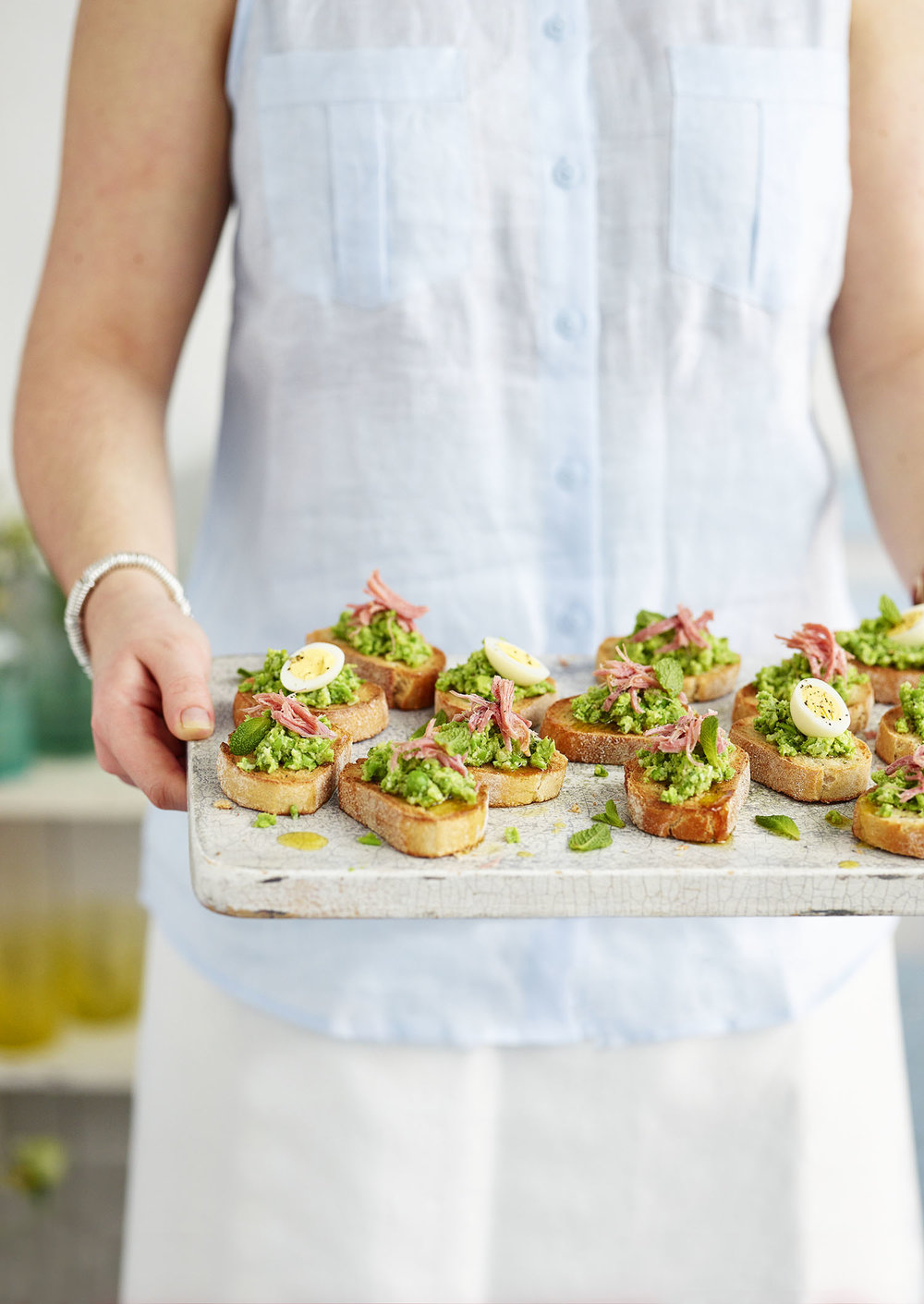 Ham Hock and Pea Crostini Photograph Gareth Morgans Prop Styling Tonia Shuttleworth