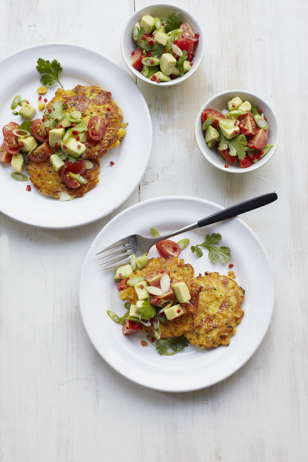 Sweetcorn Fritters & Chilli-avo Salsa Photograph Clare Winfield, Prop Styling Wei Tang (from The Goodness of Avocado)