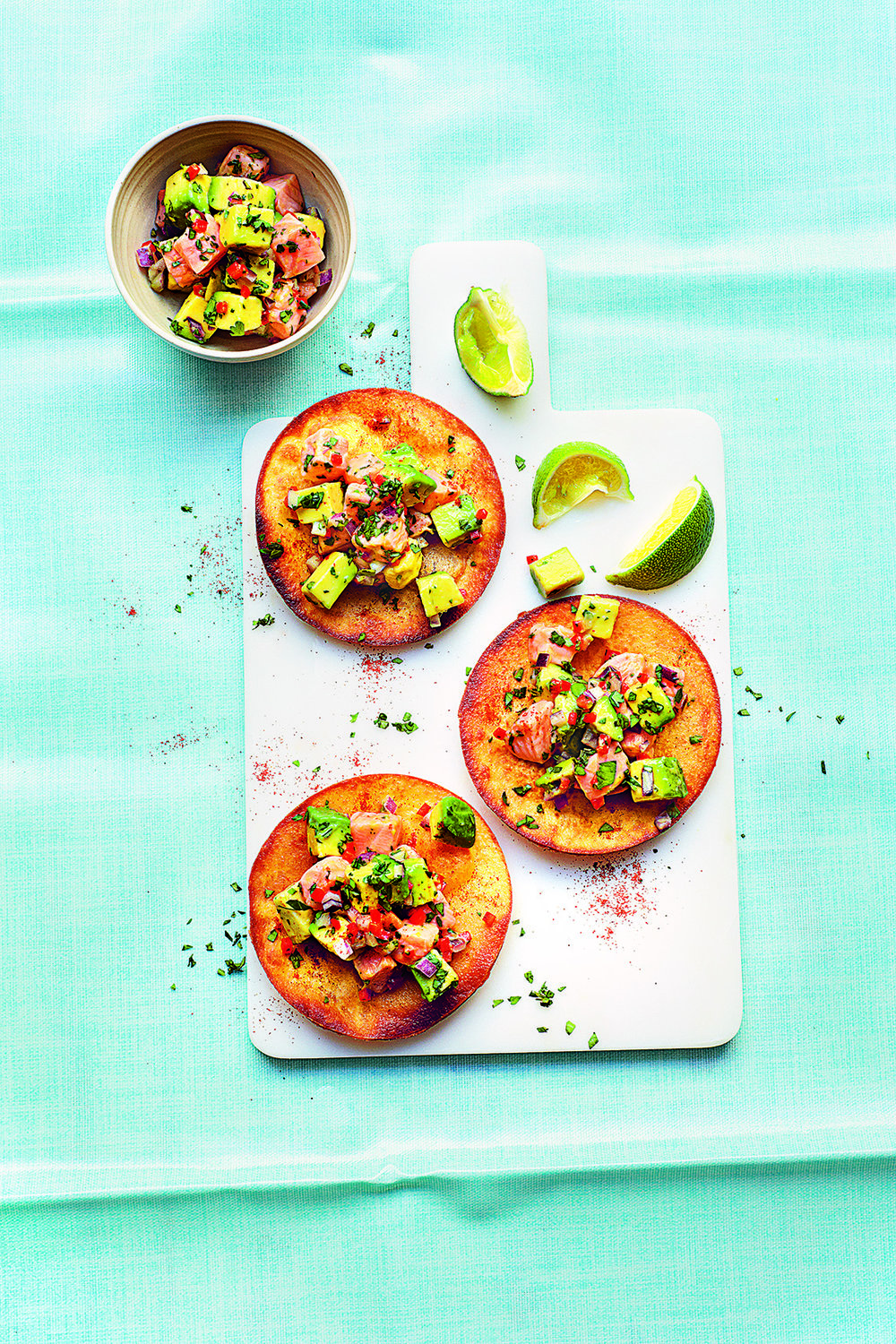 Avo Salmon Ceviche with Tostadas Photograph Clare Winfield, Prop Styling Wei Tang (from The Goodness of Avocado)
