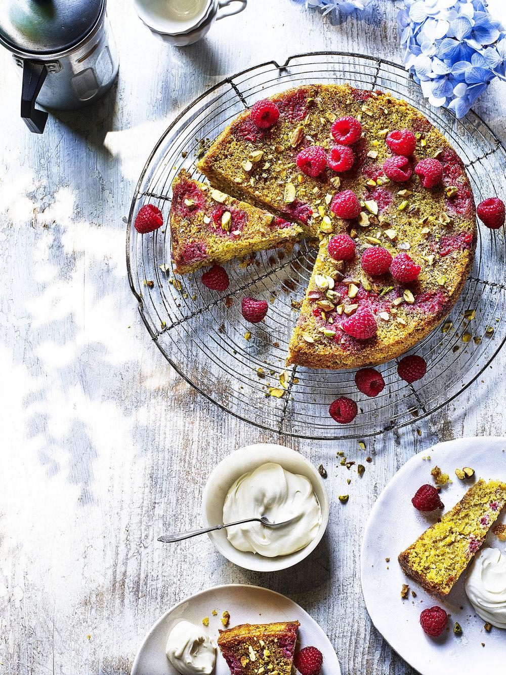 Raspberry and Pistachio Cake Photograph Kris Kirkham Prop Styling Davina Perkins