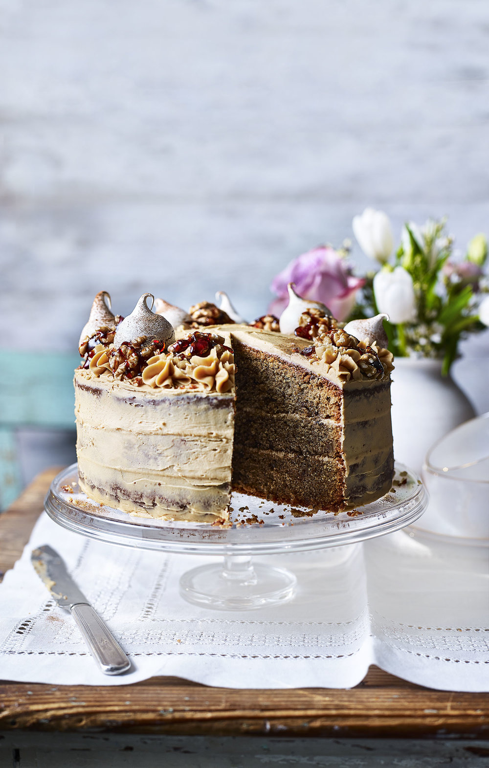 Coffee & Walnut Cake Photograph Toby Scott Prop Styling Davina Perkins Recipe Lizzie Fox