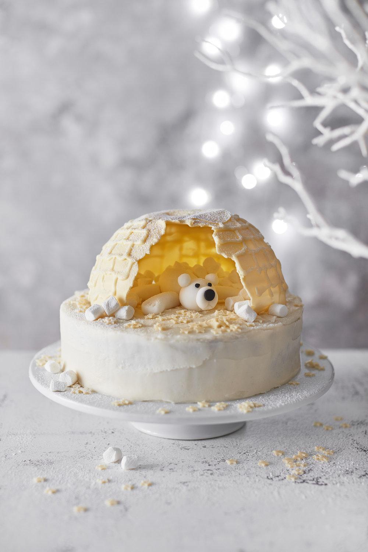 Igloo CakePhotograph Stuart Ovenden Prop Styling Morag Farquhar Recipe Holly Bell (for Tesco Magazine)