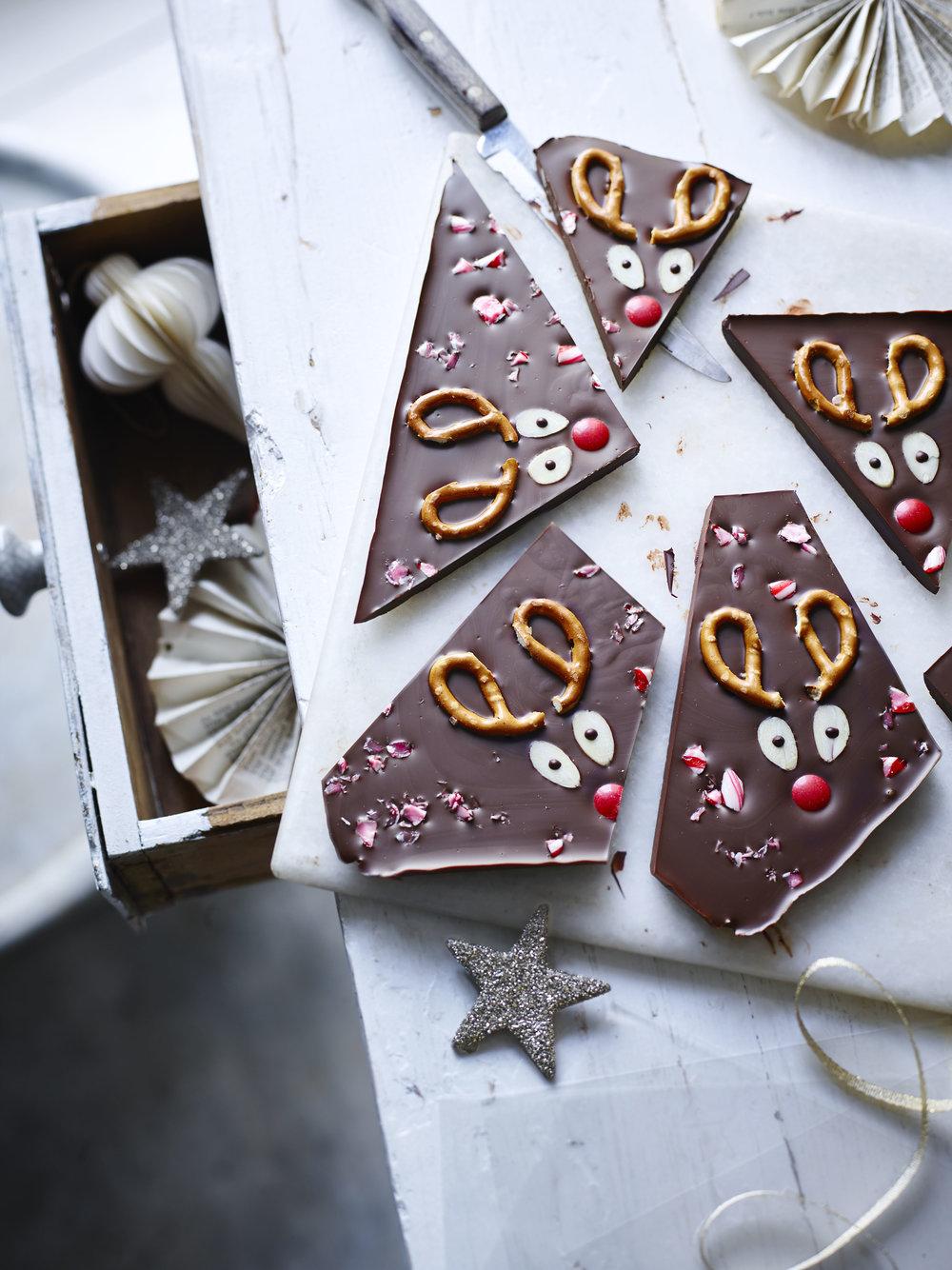 Rudolph Chocolate Bark Photograph Maja Smend Prop Styling Olivia Wardle Recipe Olivia Spurrell