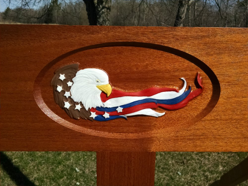 """The American Patriot""  $650.00 unfinished. $1000.00 finished  with Sikkens and painted."