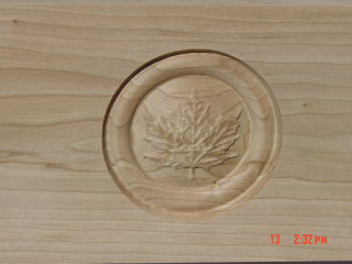 "Three 4"" Carved Maple Leaves $460"