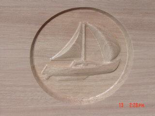 "Three 6"" Carved Sail Boats"