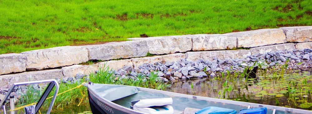 Rock Retaining Wall Near Pond