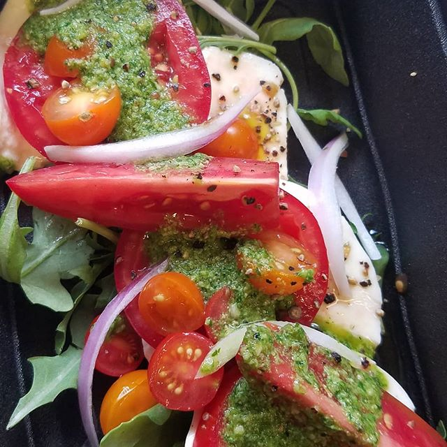 Caprese salad. #tomatoes #cheese #herbs