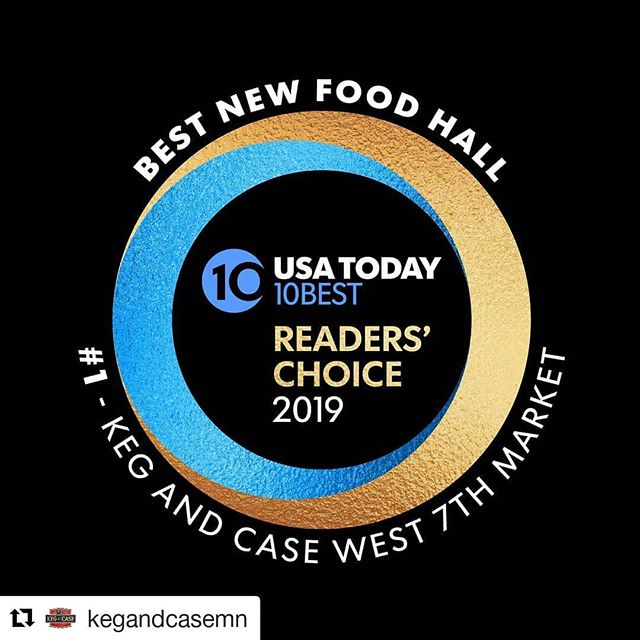 This is huge!!!! @barkleysbistro we made it!!! #Repost @kegandcasemn 📢 #1 Best Food Hall is... KEG AND CASE! We are thrilled to have won the  @usatoday @10Best Readers' Choice 2019. This is such a huge honor, we are so grateful for all your votes and support! 👏
