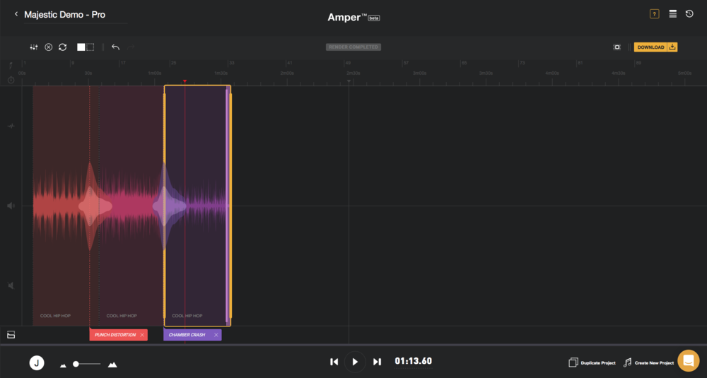 Amper Music Interface - The 'Pro' version of the Amper music editor provides the user with customisable tools and numerous options to create a track with multiple layers and instruments.