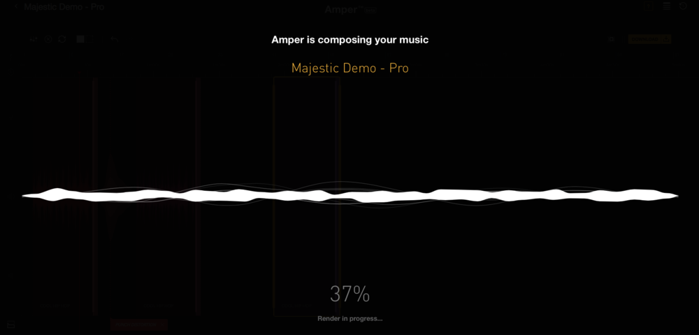 Amper Music Interface - Once the user has created their track on the 'basic' version they click render, with the process taking less than 30 seconds.