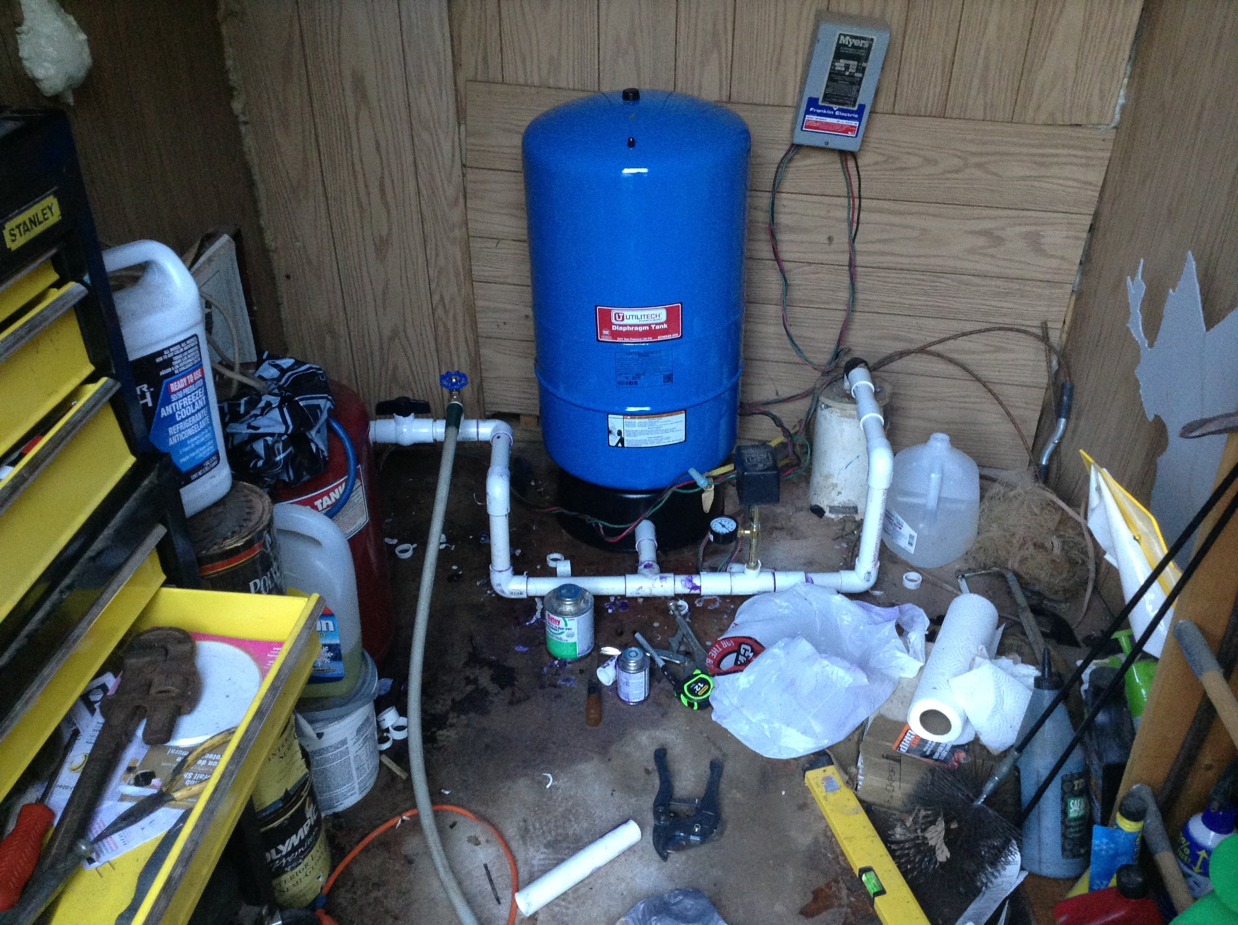 My countryfied water well.  It took all weekend to plumb and test, and in the process threw a huge wrench in my plans.