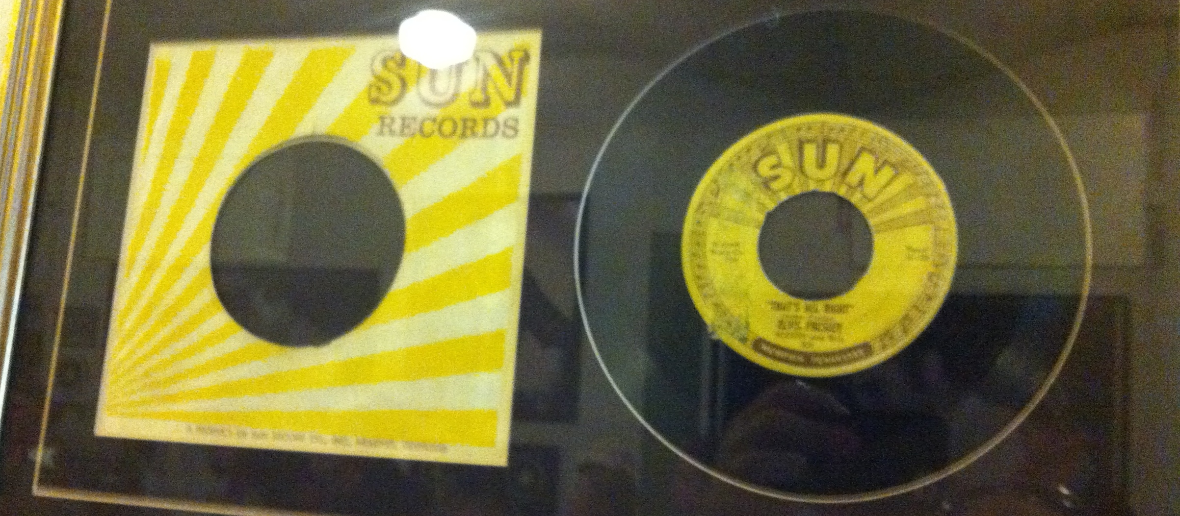 """Elvis Presley's first hit """"That's All Right"""", displayed only a few feet away from where he recorded it."""