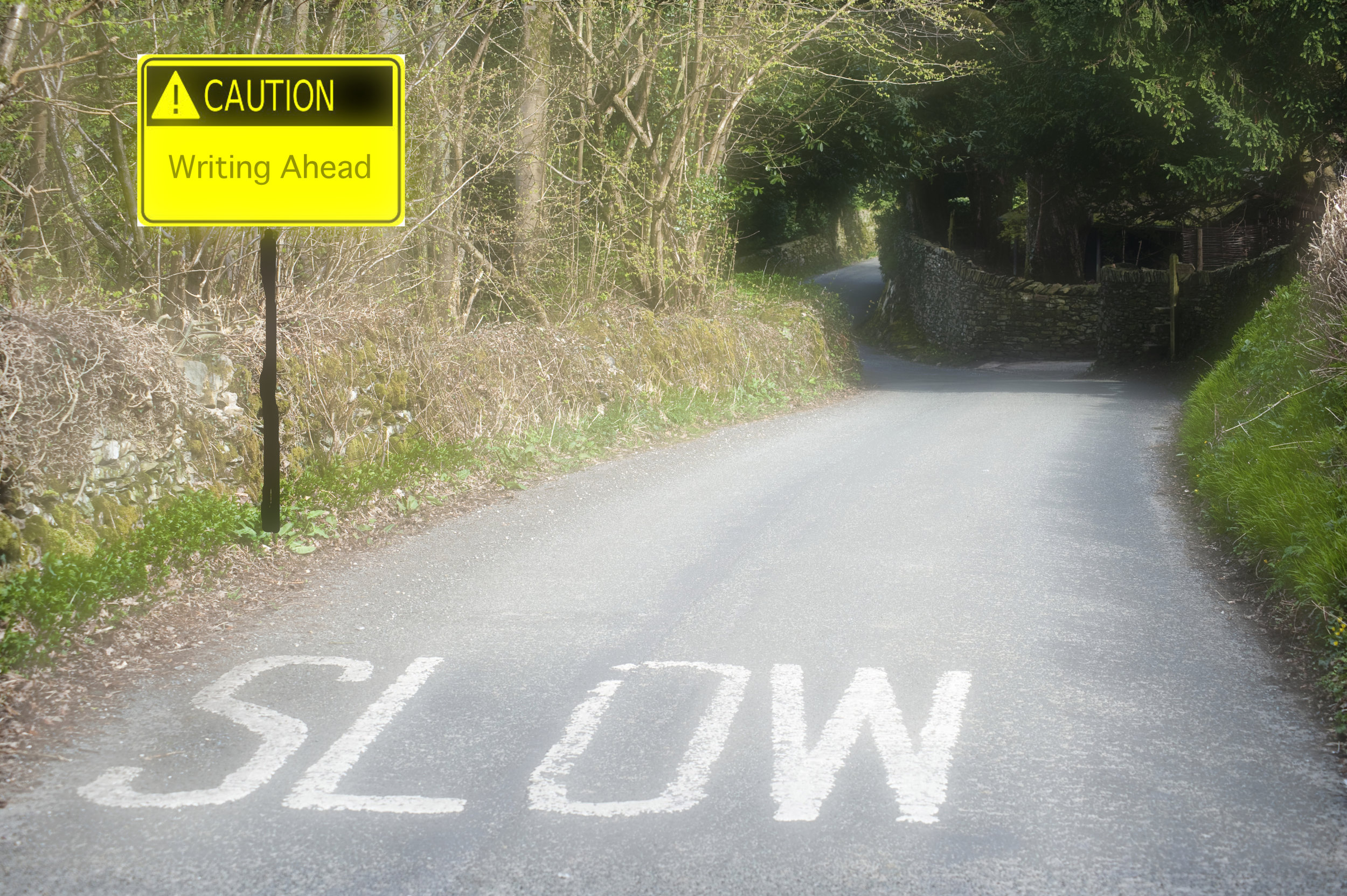 Painted caution on road to slow down