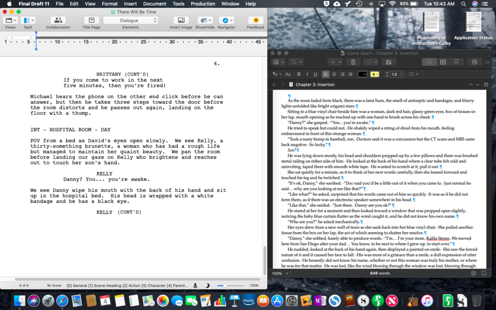 A screenshot of my use of Final Draft next to a Scrivener file of my published novel. I'm able to use it for reference as I write the screenplay.