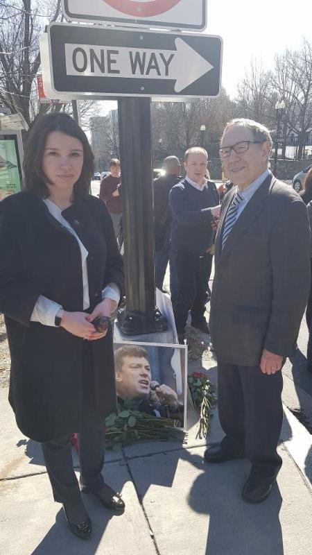 Irwin Cotler with Zhanna Nemtsova, daughter of Boris Nemtsov
