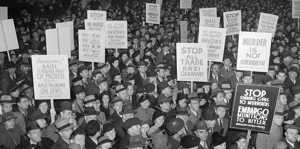 Americans protesting extermination of Jews in Europe.