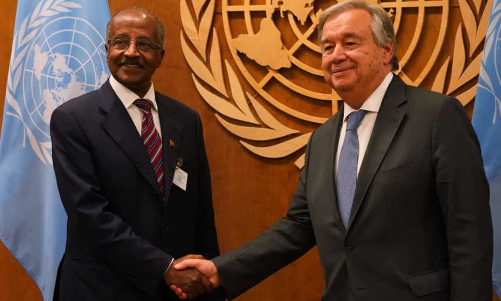 Eritrea's minister for foreign affairs, Osman Saleh Mohammed (left), meets UN secretary general António Guterres in New York.