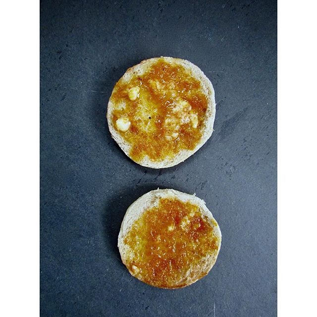 orange honey butter 🍊  on toasted english muffins. it's like marmalade but better&easier