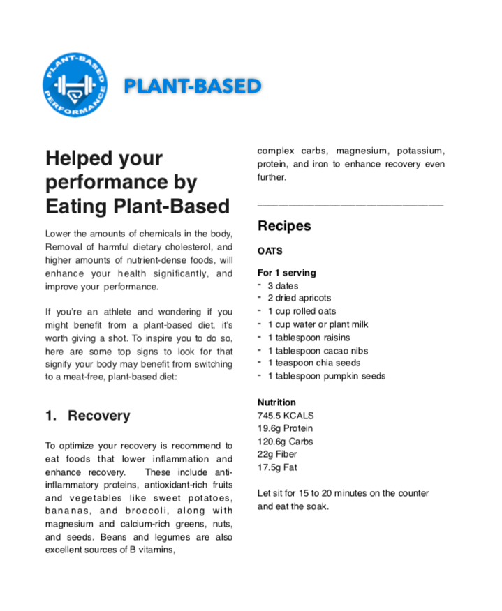 EXAMPLE: PLANT-BASED PERFORMANCE GUIDANCE