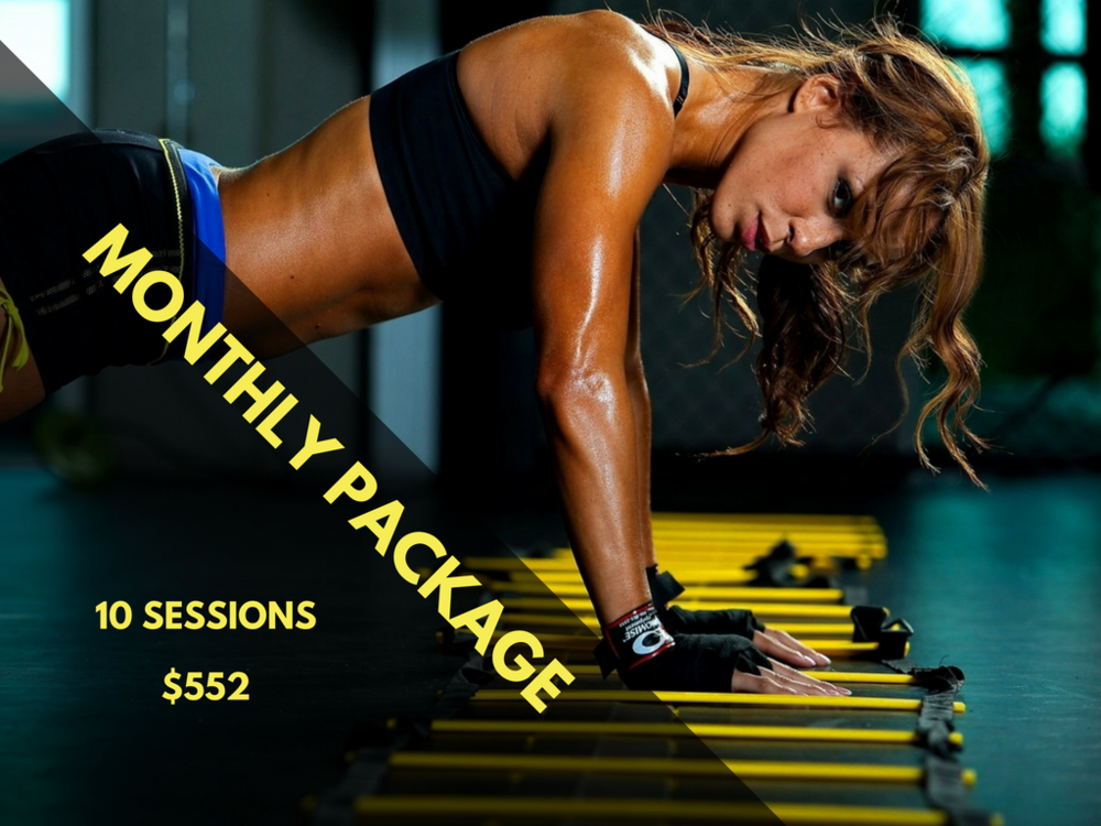 MONTHLY PACKAGE | 10 Sessions   $552  Price per Session: $55.2  Online (Live webcam) or Onsite Santa Fe   Share your package and the cost with friends and family   Experience an interactive group training workout via webcam. You can be late in different state or country and still be able to realized your training together.  2 people: $276 per person | 3 people: $184 per person