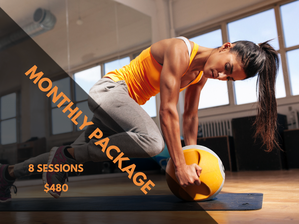 MONTHLY PACKAGE | 8 Sessions  $480  Price per Session: $60  Online (Live webcam) or Onsite Santa Fe  Share your package and the cost with friends and family  Experience an interactive group training workout via webcam. You can be late in different state or country and still be able to realized your training together.  2 people: $280 per person | 3 people: $160 per person