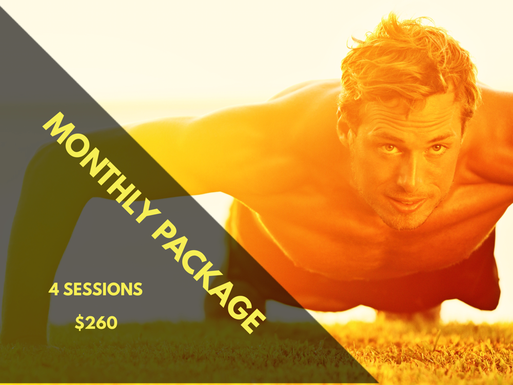 MONTHLY PACKAGE | 4 Sessions   $261  Price per Session: $65.25  Online (Live webcam) or Onsite Santa Fe   Share your package and the cost with friends and family   Experience an interactive group training workout via webcam. You can be late in different state or country and still be able to realized your training together.  2 people: $130.5 per person | 3 people: $87 per person