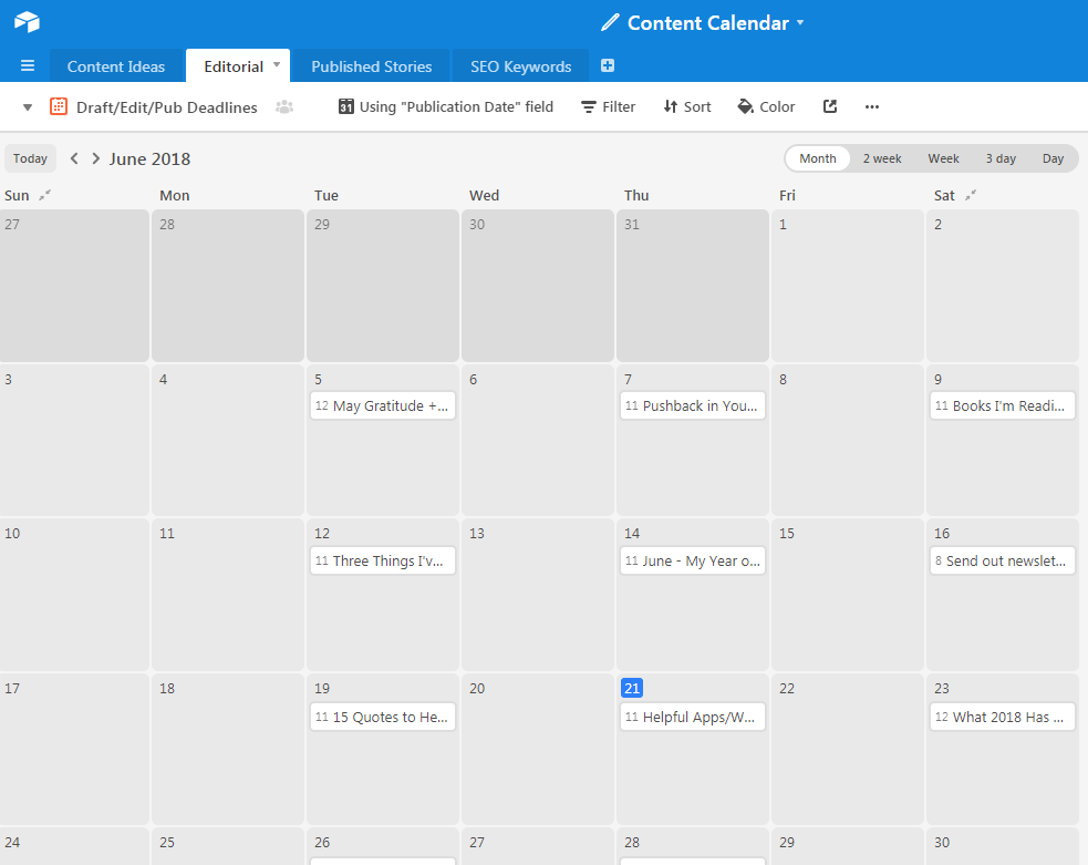 My Airtable Blog Calendar