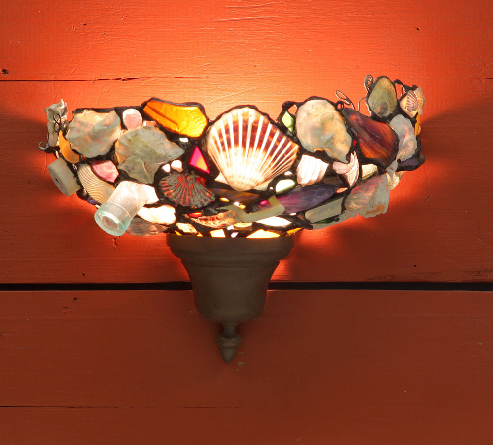 WALL SCONCE ~ Beach shells and pottery shards