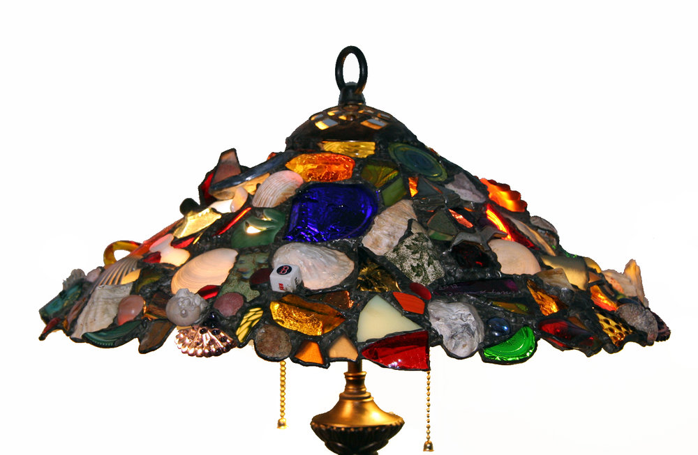 "COMMISSIONED LAMP SHADE ~ 18"" diam. Repurposed glass, shells, pottery, and client's treasures"