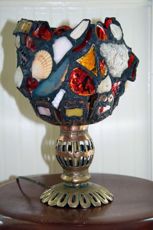 FREE FORM LIGHT ~ Repurposed treasures mounted on repurposed brass base