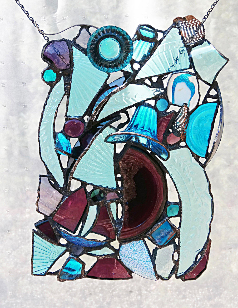 """ANGLES ~ 18""""x12"""" Repurposed glass and metal (SOLD)"""