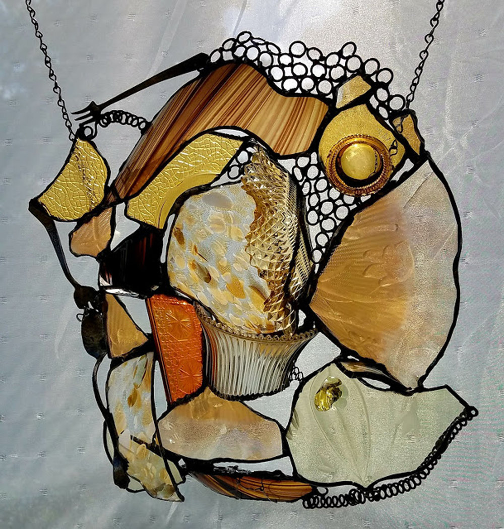 """MANY SHADES OF AMBER ~ 21""""X17"""" Repurposed glass and metal"""