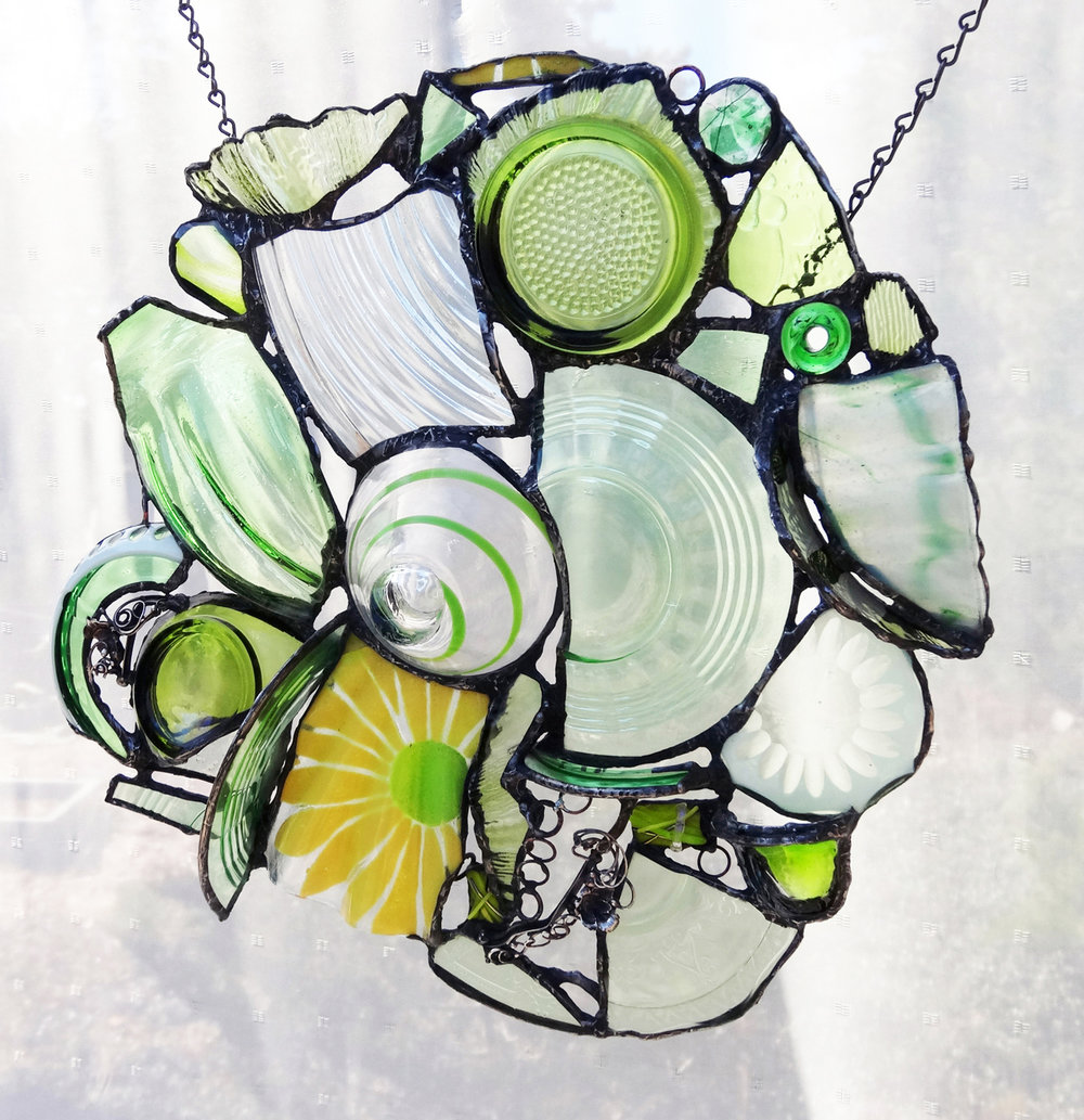 """SUMMER LIGHT ~ 15""""x15"""" Repurposed glass and metal (SOLD)"""