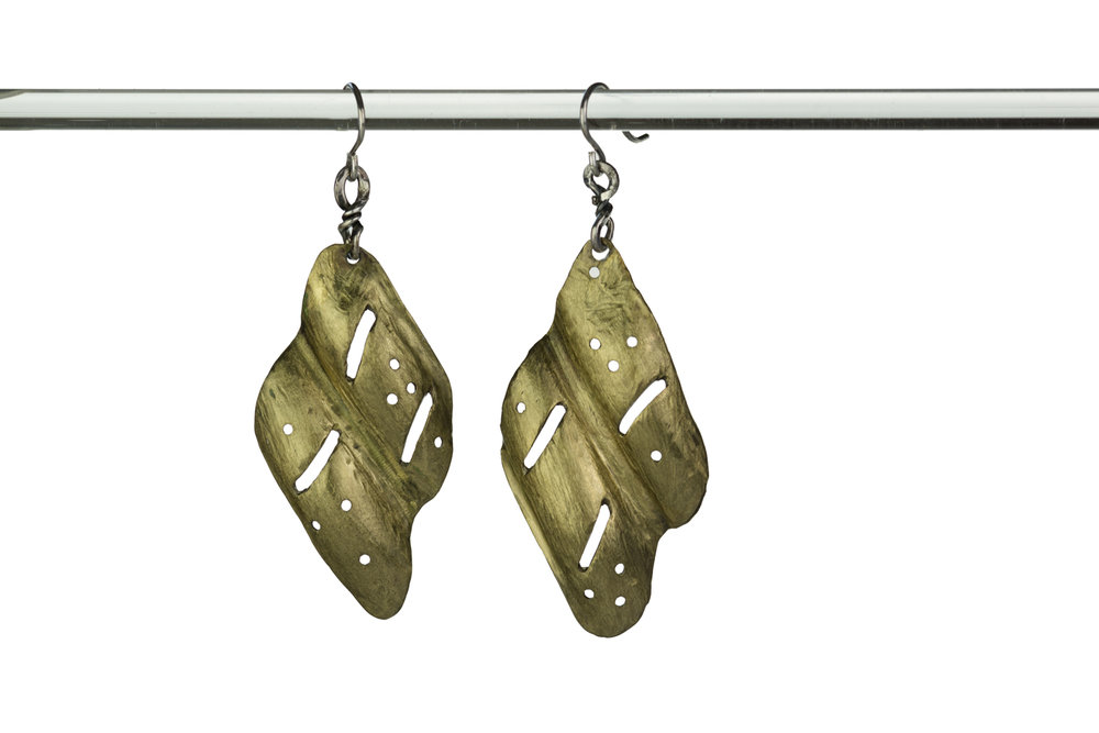 BRASS WAVE EARRINGS ~ Repurposed metal