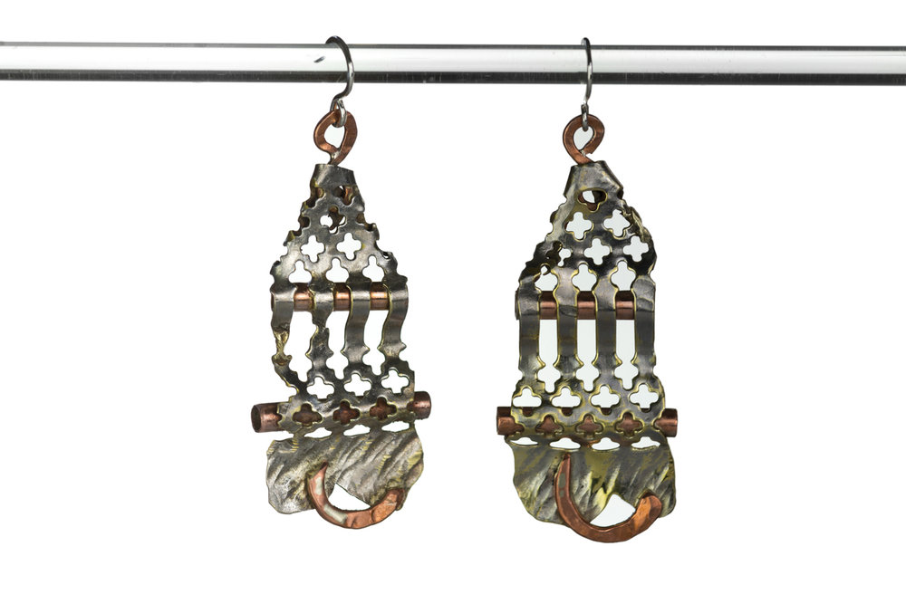 COPPER PIPE EARRINGS ~ Repurposed metal