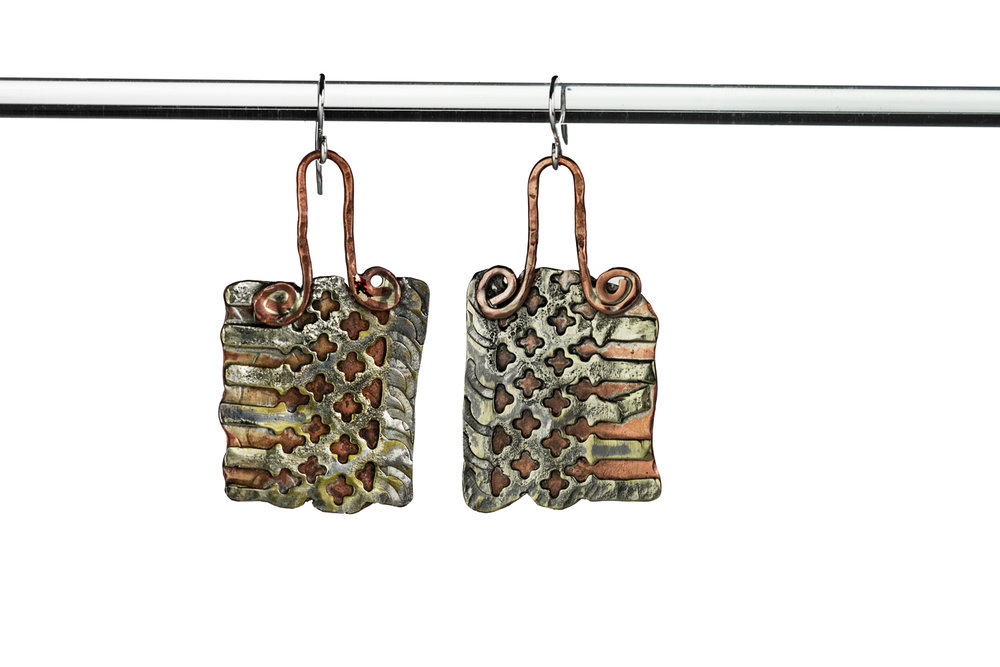 SILVER OVERLAY EARRINGS ~ Repurposed earrings