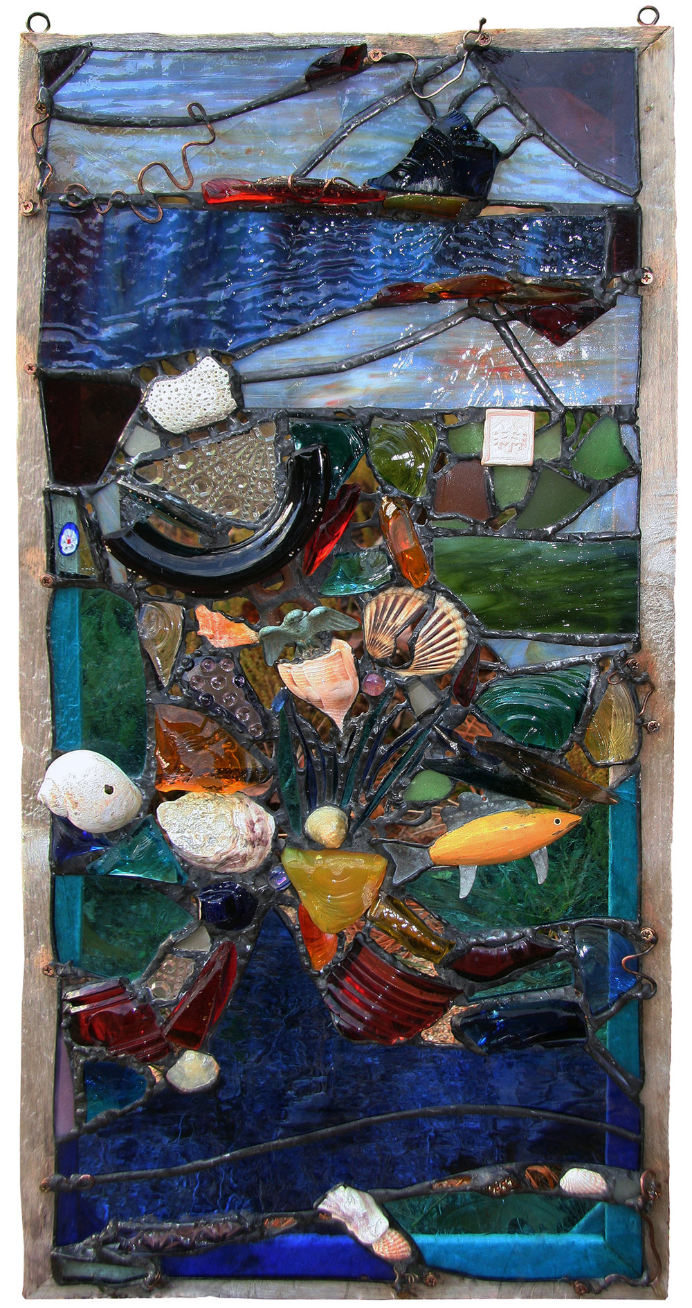 "BOB'S BIRTHDAY ~ 30""X 15"" Repurposed glass and client's treasures"