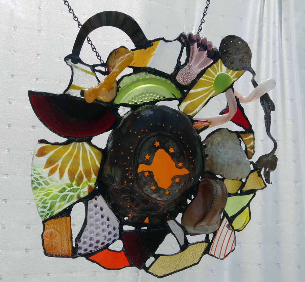 """IN FLIGHT ~ 16""""X18"""" Repurposed glass and metal (SOLD)"""