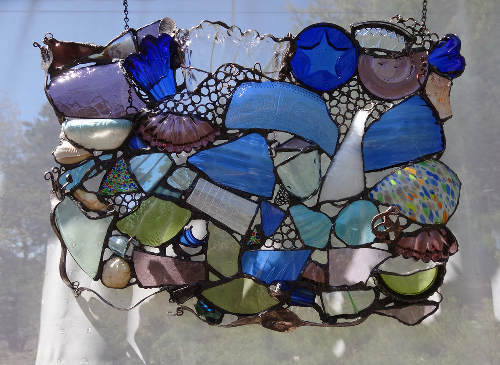 "RESTORED HOPE ~ 17""x23"" Repurposed glass and hand forged metal"