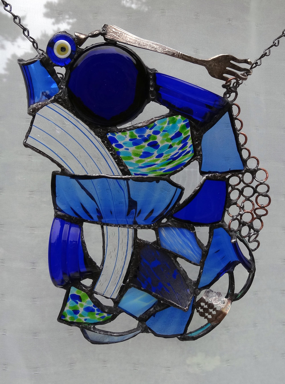 """POSED ~ 13""""X9"""" Repurposed glass and hand-forged metal"""
