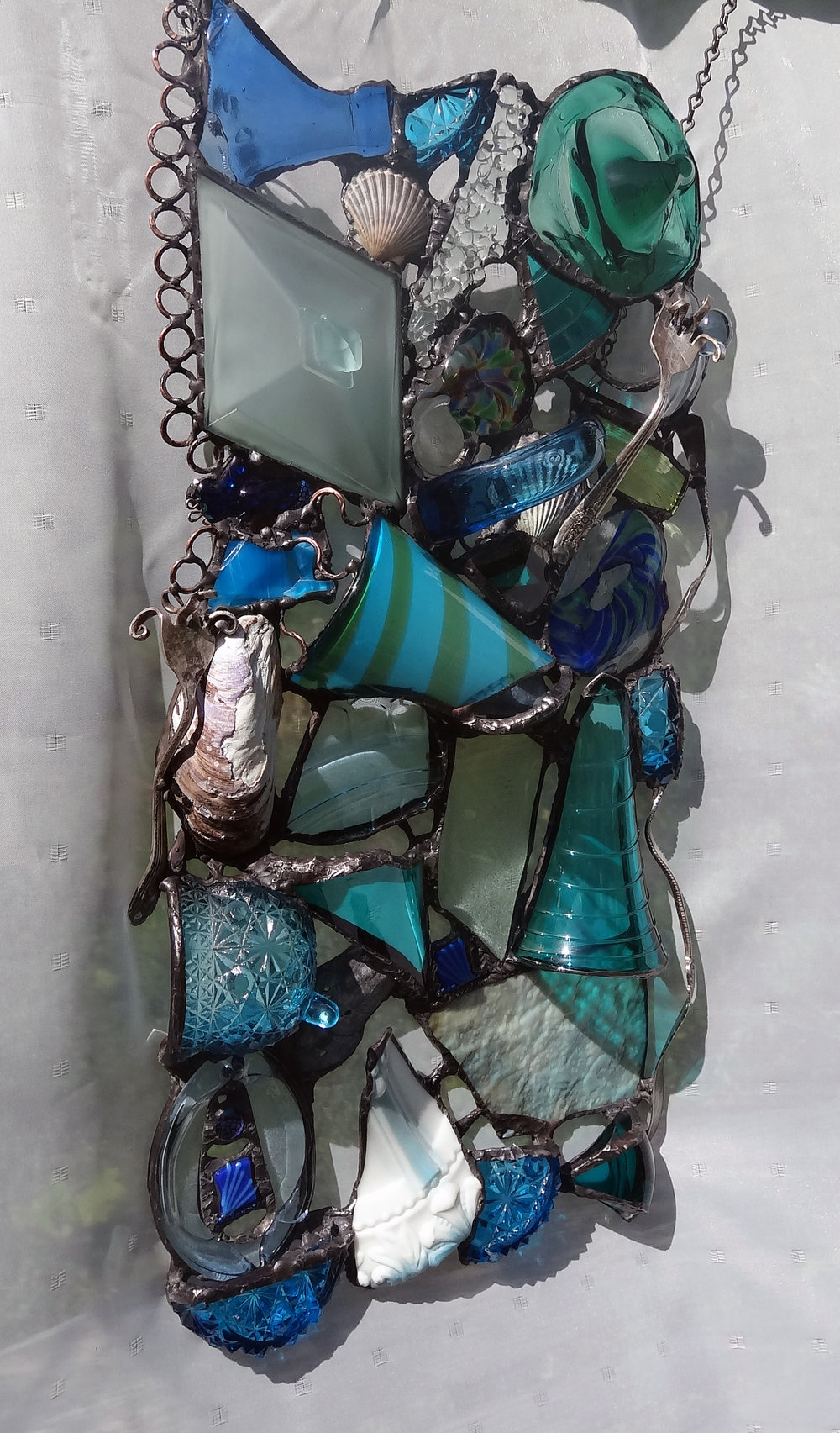"AQUA MARINE ~ 21""X10"" Repurposed glass and hand-forged metal (SOLD)"