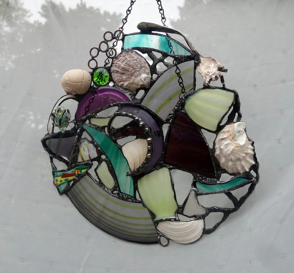 "EGGPLANT ~ 12""X12"" Repurposed glass, beach shells and metal"